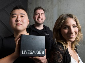 LiveGauge, co-founded by COO Sam Seo (left), CEO Nathaniel Bagnell and Sales Director Kate Bogomolny, is one of six startups in the pilot version of the Playbook Program, Ryerson's DMZ in Toronto with their device called the LiveGauge, which measures people's smartphone signals at live events.