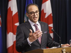 Alberta Finance Minister Joe Ceci speaks about the Government of Alberta's 2016-17 year-end financial results, in Edmonton on Thursday, June 29, 2017. THE CANADIAN PRESS/Jason Franson