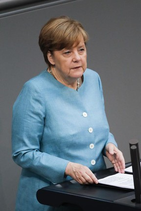 German Chancellor Angela Merkel delivers her speech about last week's EU Summit and the upcoming G-20 Summit at the German parliament Bundestag in Berlin, Thursday, June 29, 2017. (AP Photo/Markus Schreiber)