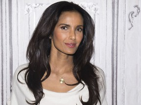 """FILE - In this March 8, 2016 file photo, Padma Lakshmi participates in a speaker series at AOL Studios in New York to discuss the upcoming finale of """"Top Chef."""" Four Teamsters charged with threatening and harassing the cast and nonunion crew of the TV reality show were acquitted of all charges on Tuesday, Aug. 15, 2017, in federal court in Boston. Lakshmi had testified she was """"terrified"""" when a Teamster confronted her outside a Boston-area restaurant where the series filmed in 2014. (Photo by Charles Sykes/Invision/AP, File)"""