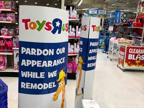 A construction sign is posted inside of a Toys R' Us store on September 19, 2017 in San Rafael, California