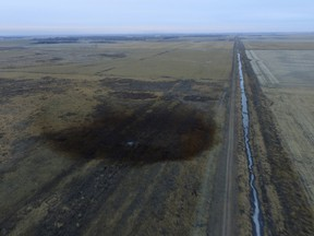 Now there's an oilpatch. This aerial photo shows spills from TransCanada Corp.'s Keystone pipeline, Friday, Nov. 17, 2017, that leaked an estimated 210,000 gallons of oil onto agricultural land in northeastern South Dakota, near Amherst, S.D.