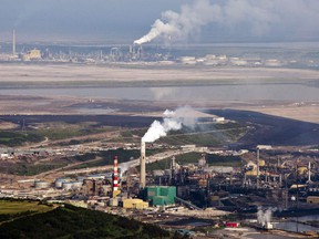 The Suncor oil sands facility seen from a helicopter near Fort McMurray, Alta.