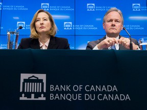 Bank of Canada Senior Deputy Governor Carolyn Wilkins and Bank of Canada Governor Stephen Poloz listen to a question during a news conference in Ottawa, Wednesday January 17, 2018.