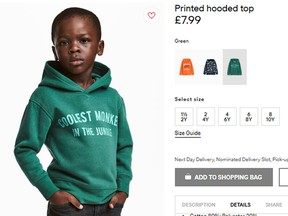 The advert for a hoodie by H&M.