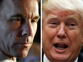 Canadian Finance Minister Bill Morneau, left, could have a secret weapon in Canada's fight against the efforts of Donald Trump, right, to upend the Canadian economy.