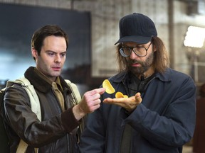 This photo provided by Pringles shows a scene from the company's Super Bowl spot, featuring actors Bill Hader, left, and Sky Elobar. For the 2018 Super Bowl, marketers are paying more than $5 million per 30-second spot to capture the attention of more than 110 million viewers.