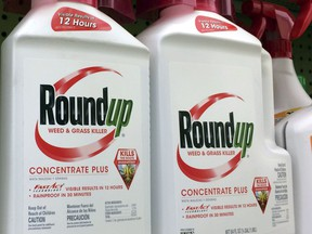 FILE - In this Jan. 26, 2017, file photo, containers of Roundup, a weed killer made by Monsanto, is seen on a shelf at a hardware store in Los Angeles. Republican lawmakers are threatening to cut off U.S. funding for the World Health Organization's cancer research program over its finding that the glyphosate herbicide Roundup is probably carcinogenic to humans. House Science Committee Chairman Lamar Smith said Tuesday, Feb. 6, 2018, that the 2015 conclusion by the International Agency for Research on Cancer was fundamentally flawed and relied on cherry-picked science.