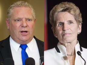 Doug Ford, leader of the Progressive Conservative party of Ontario, left, Ontario Premier Kathleen Wynne, right