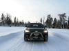 An autonomous vehicle travels Finland's E8 highway. Winter testing of driverless vehicles is critical to the technology's future success.