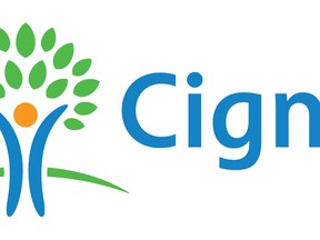 FILE- This undated file image provided by Cigna shows the Cigna logo. The insurer Cigna said Thursday, March 8, 2018, that it will spend $52 billion to buy Express Scripts, which administers prescription benefits for more than 80 million people. (Cigna via AP, File)