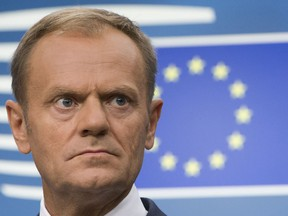 FILE - In this Friday, June 23, 2017 file photo, European Council President Donald Tusk speaks in Brussels. European Council President Tusk unveiled on Wednesday, March 7, 2018, the EU's approach to the next phase of Brexit talks on future relations with the UK.