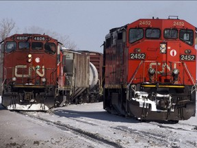 Canadian National locomotives are seen Monday, February 23, 2015 in Montreal.