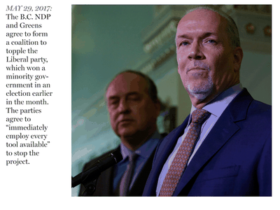B.C. Green party leader Andrew Weaver and B.C. NDP leader, and now Premier, John Horgan speak to media after announcing they'll be working together to help form a minority government during a press conference at Legislature in Victoria, on May 29, 2017.