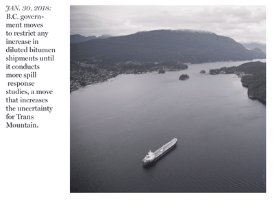 tanker is anchored in Burrard Inlet just outside of Burnaby.