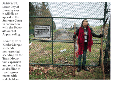 Kat Roivas, who is opposed to the expansion of the Kinder Morgan Trans Mountain pipeline, stands at an access gate at the company's property near an area where work is taking place, in Burnaby April 9, 2018.