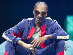 Rapper Snoop Dogg speaks at the C2 business conference in Montreal on Friday, May 25, 2018.