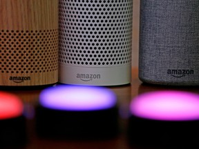 Amazon Echo speakers. A report issued by a labour group paints a picture of low pay and intense working conditions at the Chinese factory that manufactures the devices.