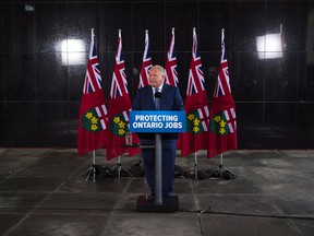 Ontario Premier-designate Doug Ford speaks to the media following a meeting with industry representatives in Toronto on Wednesday, June 13, 2018.