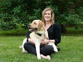 Emma Harris with her dog, Bo, who was the inspiration for her Healthy Pets business.