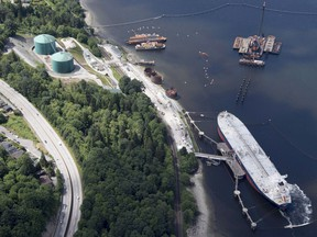 A aerial view of Kinder Morgan's Trans Mountain marine terminal, in Burnaby, B.C., is shown on Tuesday, May 29, 2018.