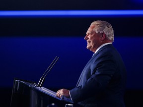 Ontario PC leader Doug Ford speaks to supporters after winning a majority government in the Ontario Provincial election in Toronto, on Thursday, June 7, 2018.
