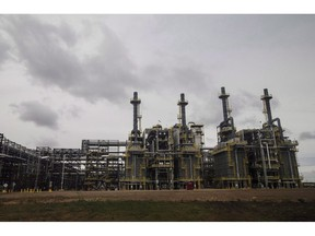 A processing unit at Suncor Fort Hills facility in Fort McMurray Alta, on Monday September 10, 2018. A new study by research firm IHS Markit forecats oilsands emissions intensity to drop by between 16 and 23 per cent in the coming decade.THE CANADIAN PRESS/Jason Franson