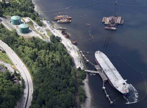 A aerial view of Kinder Morgan's Trans Mountain marine terminal, in Burnaby, B.C.