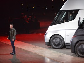 """Tesla Chairman and CEO Elon Musk unveils the new """"Semi"""" electric Truck for buyers and journalists on November 16, 2017."""