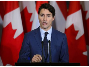 Prime Minister Justin Trudeau answered a question during a joint press conference with Prime Minister of the Netherlands Mark Rutte on Parliament Hill in Ottawa on Thursday, Oct. 25, 2018.