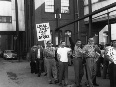 GM strikers in front of the Mary Street Plant, in Oshawa, Ont., September 1955.