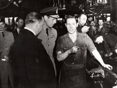 Prince George, the Duke of Kent, visiting the GM plant in Oshawa, Aug. 23, 1941.
