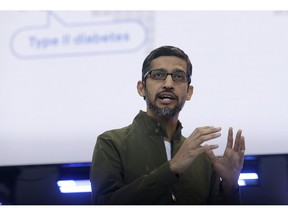 FILE- In this May 8, 2018, file photo, Google CEO Sundar Pichai speaks at the Google I/O conference in Mountain View, Calif. Google is promising to be more forceful and open about its handling of sexual misconduct cases, a week after high-paid engineers and others walked out in protest over its male-dominated culture. Pichai spelled out the concessions in an email sent Thursday, Nov. 8, to Google employees.