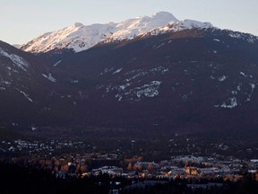 The village of Whistler, B.C. is seen as the sun sets on the snow capped mountains. Demand from retirees, investors and those looking for a winter getaway, is driving strong demand for condominiums in popular recreational real estate markets.