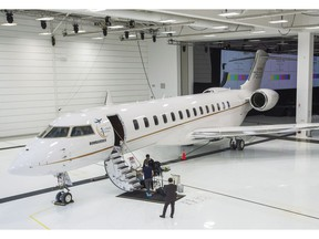 Bombardier's new jetliner, the Global 7500, the longest-range business jet in the world, is seen at the company's finishing plant in Montreal, Wednesday, Dec. 19, 2018.