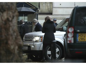 Britain's Prime Minister Theresa May arrives at Downing Street, London,  Monday, Feb. 4, 2019.  May's Brexit strategy took another blow Sunday when Nissan canceled plans to make its new SUV in northern England amid continued uncertainty over the country's future relations with the European Union.
