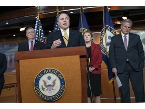 House Minority Whip Steve Scalise, R-La., joined from left by Rep. Tom Cole, R-Okla., Rep. Kay Granger, R-Texas, and House Minority Leader Kevin McCarthy of Calif., as he renewed his criticism of the Democratic leadership for not stripping Rep. Ilhan Omar, D-Minn., from the Foreign Affairs Committee in the wake of anti-semitism accusations, during a news conference at the Capitol in Washington, Wednesday, Feb. 13, 2019.