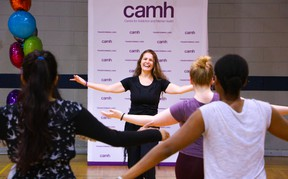 Wellness Centre fitness instructor Gabriela Carnovale leads a class for staff at CAMH.