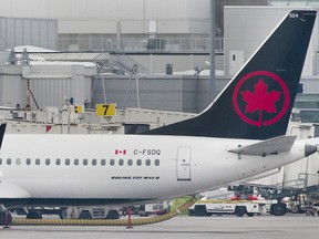 An Air Canada Boeing 737 Max 8 aircraft sits at Trudeau Airport in Montreal.