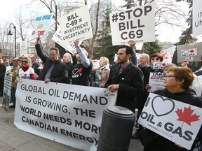 Pro-oil and pipeline supporters rally in Calgary against Bill C-69 during a Senate committee hearing in April.