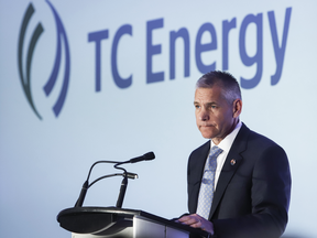 TransCanada president and CEO Russ Girling addresses the company's annual meeting after shareholders approved a name change to TC Energy in Calgary, May 3, 2019.
