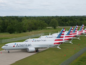 American Airlines' Boeing 737 MAX jets sit parked at a facility in Tulsa, Okla.