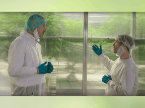 CannTrust chief executive Peter Aceto, left, appears in a promotional video from early 2019 that was shot at the company's Pelham facility. Five former employees told the Financial Post that grow room RG8 can be seen in the background.