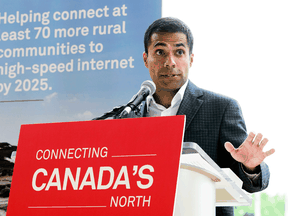 Alykhan Velshi, vice president of corporate affairs at Huawei Canada, speaks during a press conference in Ottawa on July 22, 2019.