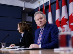 Stephen Poloz, governor of the Bank of Canada, right, and Carolyn Wilkins, senior deputy governor at the Bank of Canada, at a press conference in April.