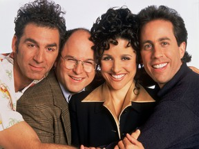 The Seinfeld cast, from left to right: ) Michael Richards as Cosmo Kramer, Jason Alexander as George Costanza, Julia Louis-Dreyfus as Elaine Benes, Jerry Seinfeld as Jerry Seinfeld.