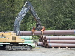 Pipeline pipes are seen at a Trans Mountain facility near Hope, B.C., on August 22, 2019. The Federal Court of Appeal is to reveal today whether a new set of legal challenges to the Trans Mountain pipeline project can proceed. The federal government has twice approved a plan to twin an existing pipeline from Alberta's oilpatch to the B.C. coast.