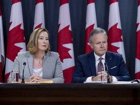 Stephen Poloz, governor of the Bank of Canada, right, and Carolyn Wilkins, senior deputy governor of the Bank of Canada, listen during a press conference in Ottawa, Ontario, Canada, on Wednesday, Oct. 24, 2018.