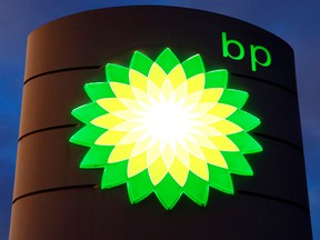 The logo of BP is seen at a petrol station in Kloten, Switzerland.