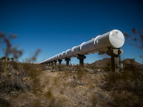 An example of hyperloop tube at the  Virgin Hyperloop One test center in Moapa, Nev., Feb. 11, 2019.